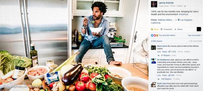 Lenny Kravitz publica foto cercado de vegetais e afirma que agora é 100% crudívoro